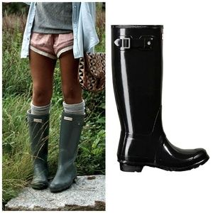 Hunter Tall Gloss Dark Slate Tall Rain Boots 10